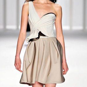 J Mendel Corseted One Shoulder Dress